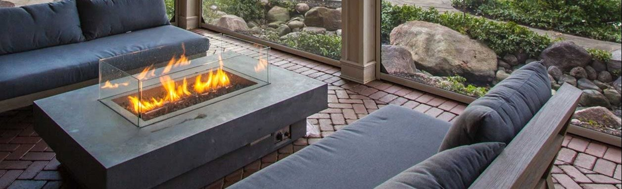 Outdoor fire place with futons