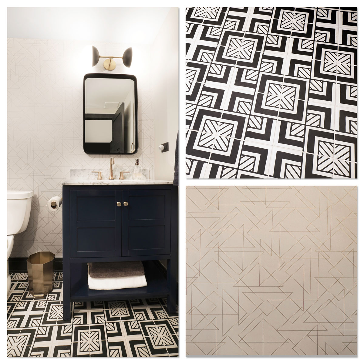 Several photos that showcase tile and wall patterns in a fully remodeled basement bathroom