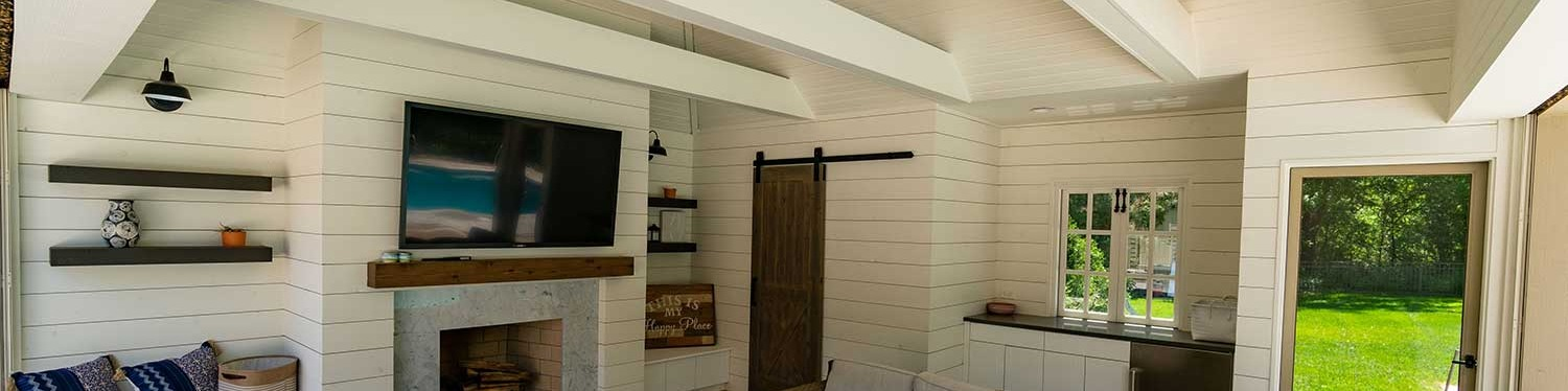Pool shack with shelves and stone fire place